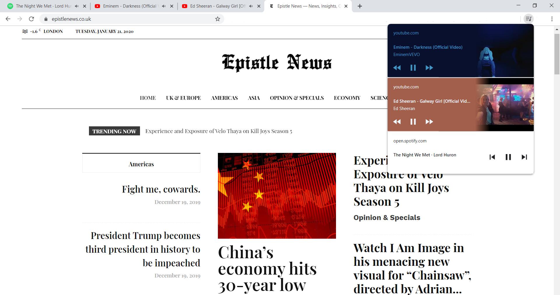 Google Chrome Global Media Control Widget